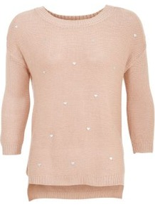 Candy Pink Heart Stud 3/4 Sleeve Jumper - neckline: round neck; pattern: plain; style: standard; predominant colour: blush; occasions: casual, work; length: standard; fibres: acrylic - 100%; fit: standard fit; back detail: longer hem at back than at front; sleeve length: 3/4 length; sleeve style: standard; texture group: knits/crochet; pattern type: knitted - other; pattern size: standard; embellishment: beading
