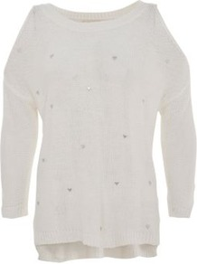White Heart Stud Cold Shoulder Jumper - neckline: slash/boat neckline; pattern: plain; length: below the bottom; style: standard; predominant colour: ivory; occasions: casual; fibres: acrylic - 100%; fit: loose; back detail: longer hem at back than at front; sleeve length: 3/4 length; sleeve style: standard; texture group: knits/crochet; pattern type: knitted - fine stitch; pattern size: small & light; embellishment: studs