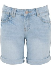 Light Blue Turn Up Boyfriend Denim Shorts - pattern: plain; style: shorts; pocket detail: traditional 5 pocket; length: mid thigh shorts; waist: mid/regular rise; predominant colour: pale blue; occasions: casual, holiday; fibres: cotton - 100%; waist detail: narrow waistband; jeans &amp; bottoms detail: turn ups; texture group: denim; fit: slim leg; pattern type: fabric; pattern size: standard