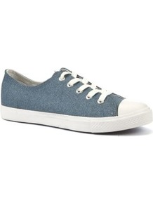 Blue Canvas Lace Up Trainers - predominant colour: denim; occasions: casual, holiday; material: fabric; heel height: flat; toe: round toe; style: trainers; finish: plain; pattern: plain