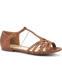 Tan Stud Cage Sandals - predominant colour: tan; occasions: casual, holiday; material: faux leather; heel height: flat; embellishment: studs; ankle detail: ankle strap; heel: standard; toe: open toe/peeptoe; style: strappy; finish: plain; pattern: plain