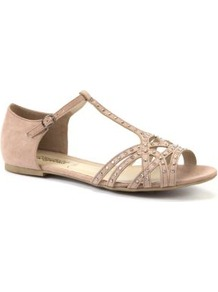 Nude Stud Cage Flat Sandals - predominant colour: nude; occasions: casual, holiday; material: faux leather; heel height: flat; embellishment: studs; ankle detail: ankle strap; heel: standard; toe: open toe/peeptoe; style: strappy; finish: plain; pattern: plain