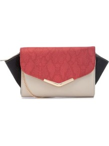 Coral Colour Block Winged Clutch - predominant colour: coral; occasions: evening, occasion, holiday; type of pattern: light; style: clutch; length: hand carry; size: small; material: faux leather; finish: plain; pattern: colourblock