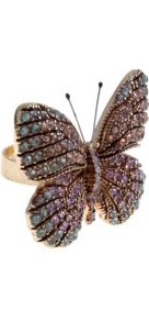 Multicoloured Diamante Encrusted Butterfly Ring - predominant colour: gold; secondary colour: gold; occasions: evening, occasion, holiday; style: cocktail; size: large/oversized; material: chain/metal; finish: metallic; embellishment: jewels