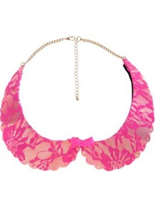 Pink Lace Bow Metal Peter Pan Collar - predominant colour: hot pink; occasions: casual, evening, work, occasion, holiday; style: choker/collar; length: mid; size: large/oversized; material: chain/metal; trends: fluorescent; finish: plain; embellishment: chain/metal