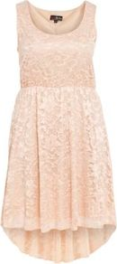Pink Lace Dip Hem Dress - fit: fitted at waist; pattern: plain; sleeve style: sleeveless; style: prom dress; predominant colour: blush; occasions: casual, evening; length: just above the knee; neckline: scoop; fibres: polyester/polyamide - stretch; back detail: longer hem at back than at front; sleeve length: sleeveless; texture group: lace; pattern type: fabric; pattern size: standard