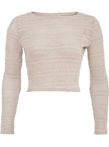 Cream Stripe Pointelle Knit Crop Jumper - neckline: round neck; pattern: striped; length: cropped; style: standard; predominant colour: stone; occasions: casual; fibres: acrylic - 100%; fit: slim fit; sleeve length: long sleeve; sleeve style: standard; texture group: knits/crochet; pattern type: knitted - other; pattern size: standard