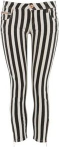 Parisian Black Candy Stripe Crop Jeans - style: skinny leg; pattern: vertical stripes; pocket detail: traditional 5 pocket; waist: mid/regular rise; occasions: casual; length: calf length; fibres: cotton - 100%; texture group: denim; predominant colour: monochrome; pattern type: fabric; pattern size: standard