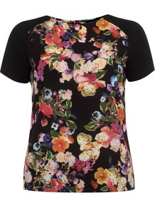 Floral Panel Tee - style: t-shirt; shoulder detail: contrast pattern/fabric at shoulder; back detail: contrast pattern/fabric at back; predominant colour: black; occasions: casual, holiday; length: standard; fibres: polyester/polyamide - 100%; fit: body skimming; neckline: crew; sleeve length: short sleeve; sleeve style: standard; trends: high impact florals; pattern type: fabric; pattern size: big & busy; pattern: florals; texture group: jersey - stretchy/drapey