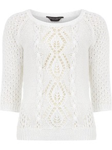 White Open Stitch Cable Jumper - neckline: round neck; style: standard; pattern: cable knit; predominant colour: white; occasions: casual, work; length: standard; fibres: acrylic - 100%; fit: standard fit; sleeve length: 3/4 length; sleeve style: standard; texture group: knits/crochet; pattern type: knitted - other; pattern size: standard