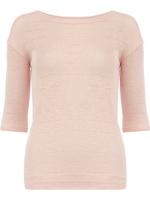 Nude Stripe Jersey Knit - neckline: round neck; pattern: plain; predominant colour: blush; occasions: casual, work; length: standard; style: top; fibres: cotton - mix; fit: body skimming; sleeve length: 3/4 length; sleeve style: standard; pattern type: fabric; pattern size: standard; texture group: jersey - stretchy/drapey