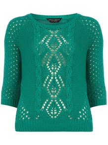 Green Open Stitch Cable Jumper - neckline: round neck; style: standard; pattern: cable knit; predominant colour: emerald green; occasions: casual, work; length: standard; fibres: acrylic - 100%; fit: standard fit; sleeve length: 3/4 length; sleeve style: standard; texture group: knits/crochet; pattern type: knitted - other; pattern size: standard
