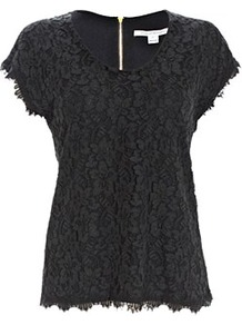 Cholula Lace Top Black - neckline: round neck; sleeve style: capped; pattern: plain; predominant colour: black; occasions: evening; length: standard; style: top; fibres: cotton - mix; fit: body skimming; sleeve length: short sleeve; texture group: lace; pattern type: fabric; pattern size: standard