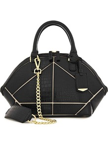 Fia Panel Detail Zip Around Bag - predominant colour: black; occasions: casual, work; type of pattern: standard; style: structured bag; length: handle; size: standard; material: leather; pattern: plain; finish: patent; embellishment: chain/metal