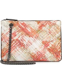 Freda Printed Satin Double Gusset Bag - predominant colour: ivory; occasions: evening, occasion; type of pattern: heavy; style: clutch; length: handle; size: small; material: fabric; finish: plain; pattern: patterned/print; embellishment: chain/metal