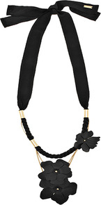 Lila Leather Flower Necklace - predominant colour: black; occasions: evening, occasion; style: standard; length: short; size: large/oversized; material: chain/metal; finish: plain; embellishment: ribbon