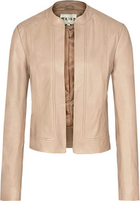 Bryony Cropped Leather Jacket - pattern: plain; style: single breasted blazer; collar: round collar/collarless; fit: slim fit; predominant colour: blush; occasions: casual, evening; length: standard; fibres: leather - 100%; sleeve length: long sleeve; sleeve style: standard; texture group: leather; collar break: high; pattern type: fabric; pattern size: standard