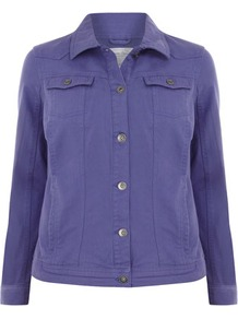 Purple Denim Jacket - pattern: plain; style: denim; fit: slim fit; predominant colour: indigo; occasions: casual; length: standard; fibres: cotton - 100%; collar: shirt collar/peter pan/zip with opening; sleeve length: long sleeve; sleeve style: standard; texture group: denim; collar break: high; pattern type: fabric; pattern size: standard