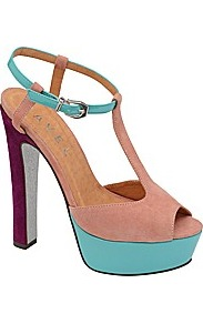 Lauren Platform Sandal - predominant colour: pink; occasions: evening, occasion, holiday; material: suede; heel height: high; ankle detail: ankle strap; heel: platform; toe: open toe/peeptoe; style: standard; finish: plain; pattern: colourblock