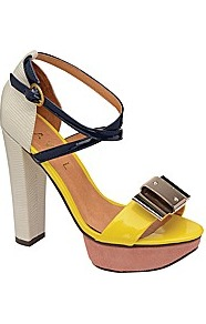 Legacy Platform Sandal - predominant colour: yellow; occasions: evening, occasion, holiday; material: leather; heel height: high; embellishment: buckles; ankle detail: ankle strap; heel: platform; toe: open toe/peeptoe; style: standard; finish: plain; pattern: colourblock