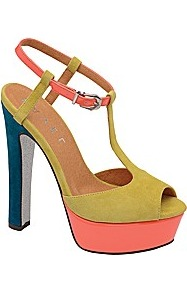 Lauren Platform Sandal - predominant colour: lime; occasions: evening, occasion, holiday; material: suede; heel height: high; ankle detail: ankle strap; heel: platform; toe: open toe/peeptoe; style: standard; finish: plain; pattern: colourblock