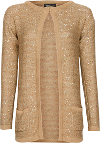 Sequinned Long Cardigan - neckline: round neck; pattern: plain; length: below the bottom; predominant colour: gold; occasions: evening, occasion; style: standard; fibres: polyester/polyamide - mix; fit: standard fit; sleeve length: long sleeve; sleeve style: standard; texture group: knits/crochet; pattern type: knitted - other; pattern size: standard; embellishment: sequins
