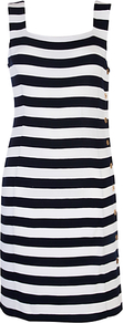 Square Stripe Neck Dress - style: shift; neckline: high square neck; pattern: horizontal stripes; sleeve style: sleeveless; waist detail: fitted waist; predominant colour: black; occasions: casual, evening, work, holiday; length: just above the knee; fit: body skimming; fibres: polyester/polyamide - 100%; sleeve length: sleeveless; trends: striking stripes, glamorous day shifts; pattern type: fabric; pattern size: big & busy; texture group: jersey - stretchy/drapey