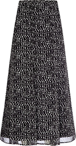 Pixel Panel Skirt, Black/White - length: below the knee; fit: loose/voluminous; waist: high rise; predominant colour: black; occasions: casual, evening, work; style: a-line; fibres: polyester/polyamide - 100%; hip detail: soft pleats at hip/draping at hip/flared at hip; waist detail: narrow waistband; texture group: sheer fabrics/chiffon/organza etc.; pattern type: fabric; pattern size: small & busy; pattern: patterned/print