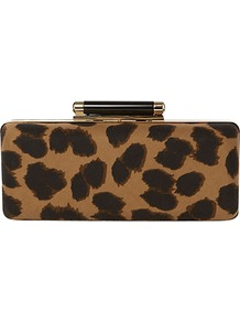 Invitation Animal Print Bag - predominant colour: chocolate brown; occasions: evening, occasion; type of pattern: heavy; style: clutch; length: hand carry; size: small; material: fabric; pattern: animal print; finish: plain