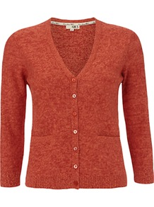 Nw3 Hobbs Melange Cardigan - neckline: v-neck; pattern: plain; predominant colour: bright orange; occasions: casual; length: standard; style: standard; fibres: wool - mix; fit: slim fit; sleeve length: 3/4 length; sleeve style: standard; texture group: knits/crochet; pattern type: knitted - fine stitch