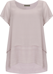 Double Layer Top - pattern: plain; predominant colour: stone; occasions: casual; length: standard; style: top; fibres: viscose/rayon - 100%; fit: loose; neckline: crew; sleeve length: short sleeve; sleeve style: standard; texture group: silky - light; pattern type: fabric