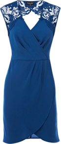 Lace Shoulder Wrap Dress, Bright Blue - style: faux wrap/wrap; length: mid thigh; neckline: v-neck; pattern: plain; sleeve style: sleeveless; waist detail: fitted waist; back detail: low cut/open back; shoulder detail: contrast pattern/fabric at shoulder; predominant colour: teal; occasions: evening, occasion; fit: body skimming; fibres: polyester/polyamide - 100%; sleeve length: sleeveless; texture group: lace; pattern type: fabric; pattern size: standard
