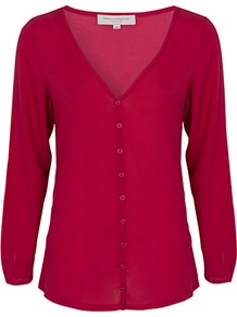 Polly Cardigan - neckline: v-neck; pattern: plain; bust detail: buttons at bust (in middle at breastbone)/zip detail at bust; predominant colour: true red; occasions: casual, evening, work; length: standard; style: standard; fibres: polyester/polyamide - 100%; fit: standard fit; sleeve length: long sleeve; sleeve style: standard; texture group: jersey - stretchy/drapey