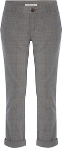 Day Tripper Checked Trousers - pattern: checked/gingham; pocket detail: pockets at the sides; waist: mid/regular rise; predominant colour: mid grey; occasions: casual, work; length: ankle length; fibres: cotton - stretch; waist detail: narrow waistband; jeans & bottoms detail: turn ups; fit: slim leg; pattern type: fabric; pattern size: small & light; texture group: woven light midweight; style: standard
