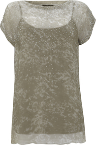 Ella Beaded Top - neckline: slash/boat neckline; predominant colour: champagne; occasions: casual, evening, holiday; length: standard; style: top; fibres: polyester/polyamide - 100%; fit: body skimming; sleeve length: short sleeve; sleeve style: standard; texture group: sheer fabrics/chiffon/organza etc.; pattern type: fabric; pattern size: small & light; embellishment: beading