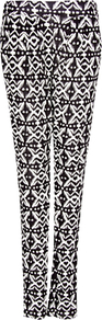 Ikat Print Trousers - length: standard; waist detail: fitted waist; pocket detail: pockets at the sides; waist: mid/regular rise; predominant colour: black; occasions: casual, evening, work, holiday; fibres: polyester/polyamide - 100%; hip detail: front pleats at hip level; trends: modern geometrics; fit: slim leg; pattern type: fabric; pattern size: big &amp; busy; pattern: patterned/print; texture group: other - light to midweight; style: standard