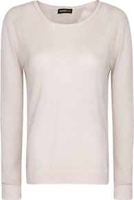 Open Back Metallic Sweater - neckline: round neck; pattern: plain; back detail: cowl/draping/scoop at back; style: standard; predominant colour: stone; occasions: casual, evening, work; length: standard; fibres: acrylic - mix; fit: standard fit; sleeve length: long sleeve; sleeve style: standard; texture group: knits/crochet; trends: metallics; pattern type: knitted - fine stitch; pattern size: standard