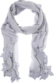 Cutwork Scarf - predominant colour: mid grey; occasions: casual, work, occasion; type of pattern: light; style: regular; size: standard; material: fabric; embellishment: embroidered; pattern: plain