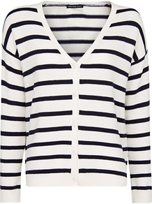 Striped Cardigan - neckline: low v-neck; pattern: horizontal stripes; predominant colour: white; occasions: casual, work; length: standard; style: standard; fibres: cotton - 100%; fit: standard fit; sleeve length: long sleeve; sleeve style: standard; texture group: knits/crochet; pattern type: knitted - other; pattern size: standard