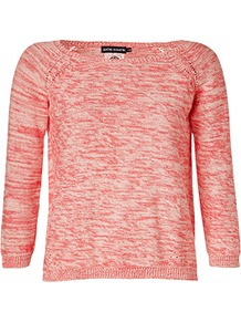 Coral Multi Cotton Pullover - neckline: slash/boat neckline; pattern: plain; style: standard; predominant colour: coral; occasions: casual, work; length: standard; fibres: cotton - 100%; fit: standard fit; sleeve length: 3/4 length; sleeve style: standard; texture group: knits/crochet; pattern type: knitted - fine stitch; pattern size: standard