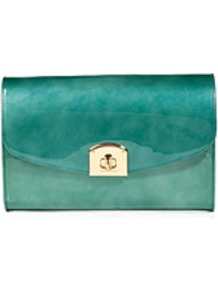 Pearly Turquoise Patent Leather Clutch - predominant colour: emerald green; occasions: evening, occasion; type of pattern: standard; style: clutch; length: hand carry; size: standard; material: leather; pattern: plain; finish: patent; embellishment: corsage
