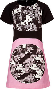 White/Black Multi Print Cotton Dress - style: shift; length: mid thigh; predominant colour: black; occasions: evening, occasion; fit: soft a-line; fibres: cotton - stretch; neckline: crew; sleeve length: short sleeve; sleeve style: standard; texture group: cotton feel fabrics; trends: modern geometrics; pattern type: fabric; pattern size: small & busy; pattern: patterned/print