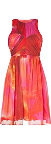 Pink Multi Pleated Silk Chiffon Dress - sleeve style: sleeveless; waist detail: fitted waist; bust detail: ruching/gathering/draping/layers/pintuck pleats at bust; predominant colour: bright orange; occasions: evening, occasion; length: just above the knee; fit: fitted at waist & bust; style: fit & flare; fibres: silk - 100%; neckline: crew; hip detail: soft pleats at hip/draping at hip/flared at hip; sleeve length: sleeveless; texture group: sheer fabrics/chiffon/organza etc.; trends: statement prints; pattern type: fabric; pattern size: standard; pattern: patterned/print