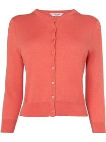 Betty Silk Fitted Caridgan Orange Carnelian - neckline: round neck; predominant colour: coral; occasions: casual, work; length: standard; style: standard; fibres: silk - mix; fit: slim fit; sleeve length: 3/4 length; sleeve style: standard; texture group: knits/crochet; pattern type: knitted - fine stitch; pattern size: standard