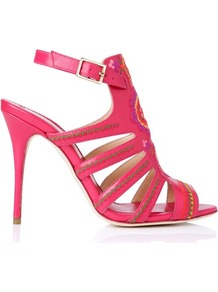 Tacca Embroidered Leather Gladiator Sandal Print Pink - predominant colour: hot pink; occasions: evening, occasion, holiday; material: leather; heel height: high; embellishment: embroidered; ankle detail: ankle strap; heel: stiletto; toe: open toe/peeptoe; style: strappy; finish: plain; pattern: plain