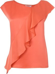 Shania Silk Frill Detail Top Orange Carnelian - neckline: round neck; sleeve style: capped; pattern: plain; predominant colour: bright orange; occasions: casual, evening, work, holiday; length: standard; style: top; fibres: silk - 100%; fit: body skimming; waist detail: ruffles at waist; sleeve length: short sleeve; texture group: silky - light; trends: sculptural frills; bust detail: tiers/frills/bulky drapes/pleats; pattern type: fabric; pattern size: standard