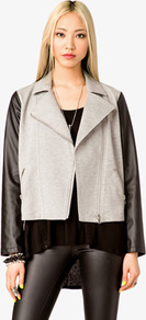 Faux Leather Sleeve Moto Jacket - pattern: plain; style: biker; collar: asymmetric biker; shoulder detail: contrast pattern/fabric at shoulder; predominant colour: stone; occasions: casual; length: standard; fit: straight cut (boxy); fibres: cotton - mix; sleeve length: long sleeve; sleeve style: standard; texture group: leather; collar break: medium; pattern type: fabric; pattern size: standard