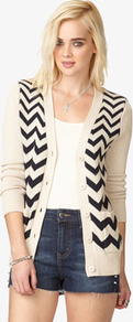 Chevron Knit Cardigan - neckline: low v-neck; predominant colour: ivory; occasions: casual; length: standard; style: standard; fibres: cotton - 100%; fit: standard fit; bust detail: contrast pattern/fabric/detail at bust; sleeve length: long sleeve; sleeve style: standard; texture group: knits/crochet; pattern type: knitted - other; pattern size: big &amp; busy; pattern: patterned/print