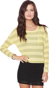 Striped Pocket Top - neckline: round neck; sleeve style: dolman/batwing; pattern: horizontal stripes; style: t-shirt; predominant colour: primrose yellow; occasions: casual; length: standard; fibres: polyester/polyamide - mix; fit: straight cut; sleeve length: long sleeve; pattern type: knitted - fine stitch; pattern size: standard; texture group: jersey - stretchy/drapey