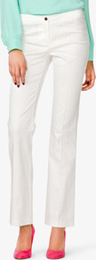 Fit & Flare Jacquared Pants - pattern: plain; pocket detail: small back pockets; waist: mid/regular rise; predominant colour: white; occasions: evening, work, occasion, holiday; length: ankle length; fibres: cotton - stretch; hip detail: fitted at hip (bottoms); waist detail: narrow waistband; texture group: cotton feel fabrics; fit: flares; pattern type: fabric; style: standard